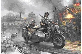 Zvezda 1/35 German Motorcycle R12 with Sidecar and Crew