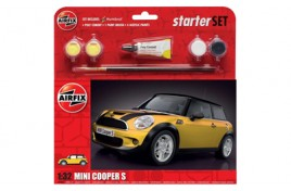 Mini Cooper S Yellow Starter Set 1:32 Scale Plastic Kit