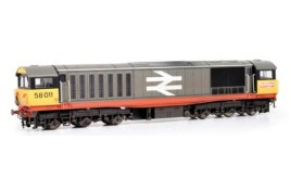 Class 58 58011 BR Railfreight (Red Stripe) Weathered- faded paint and logos OO Gauge