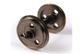 OO Scale Metal 3 Hole Disc Wagon Wheels Pack of 10 Assembled Axle Sets