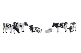 Cows Black & White x 5 with Feed/Water Trough N Scale