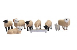 Sheep x 7, Lamb x 1 & Feed/Water Trough N Scale