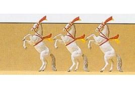 White Circus Horses x 3 N Scale