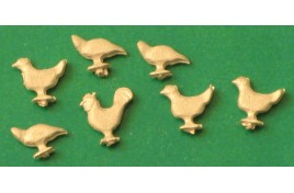 Chickens (pack of 7 unpainted white metal) OO Scale