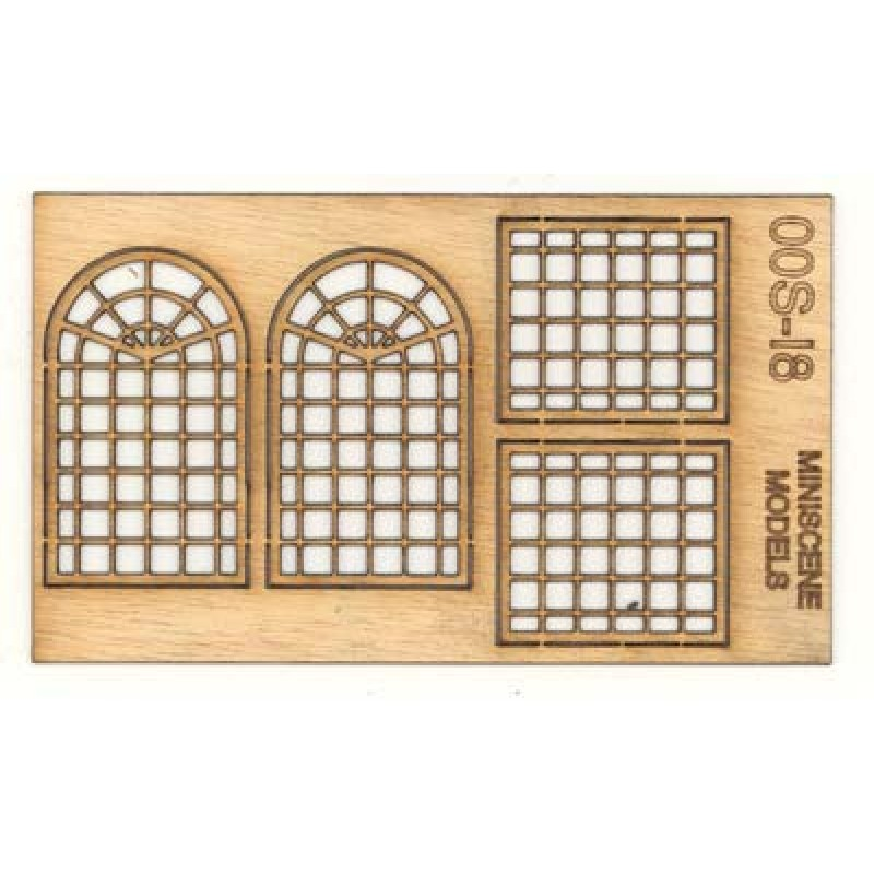 OOS-18 Industrial Window Frames 2 x Rectangular & 2 x Arched OO Scale