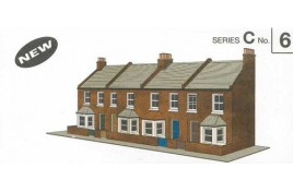 Low Relief Card Kit - Four Redbrick Terrace Fronts OO Scale