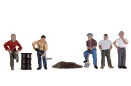 Construction Workers x 5 & Equipment OO/HO Scale