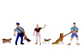 Dog Walkers x 2, Dogs x 4  & Delivery Man x 1 OO/HO Scale