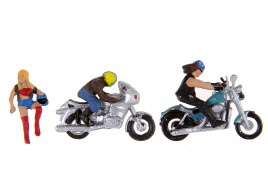 Motorcycles x 2  & Riders x 3 OO/HO Scale