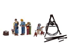 Welders x 3 with Welding Equipment N Scale