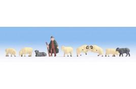 Hobby Series - Shepherd (1) & Sheep (8) HO Scale