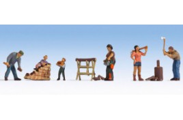 Chopping Wood Figure Set (5) OO/HO Scale