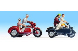 Motorcyclists and side car x2 OO/HO Scale