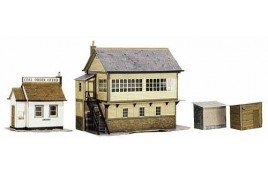 Signal Box, Coal Order Office & Lineside Huts Card Kit OO Scale