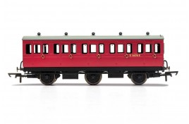 3rd Class BR E31070 6 Wheel Coach  With Fitted Lights OO Gauge