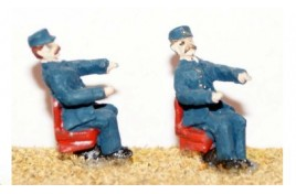 Diesel Loco Drivers, Seated x 2 (painted) OO Scale