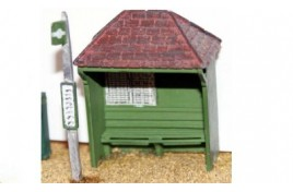 Country Bus Shelter & Bus Stop Assembled & Painted OO Scale