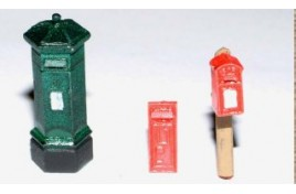 Victorian Pillar Boxes x 3 Different Designs - Painted OO Scale