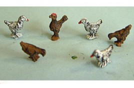 Chickens x 6 & 1 Cockerel Painted OOScale