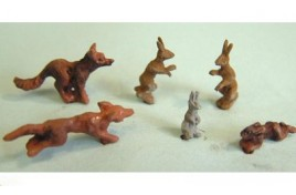 Foxes,Hares and Rabbits (Painted) OO Scale