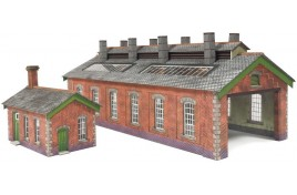 Red Brick Double Track Engine Shed N Gauge