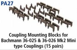 Coupling Mounting Blocks for Bachmann 36-025 & 36-026 Mk2 Mini type Couplings (15 pairs)