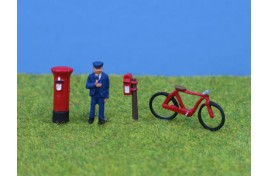 Postman, Bike & Postboxes, Painted OO Scale