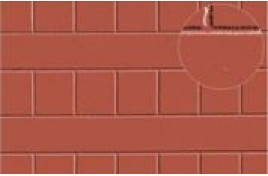Roofing Tile Red Embossed Plastic Sheet O Scale