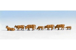 Cows - Light Brown x 7 OO/HO Scale