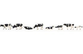 Cows Black/White Figures x 8