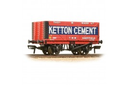 8 Plank Open Wagon End Door 'Ketton Cement' Red OO Gauge