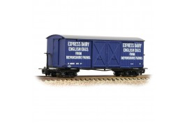 Bogie Covered Blue Goods Wagon 'Express Dairy English Eggs' OO9 Gauge