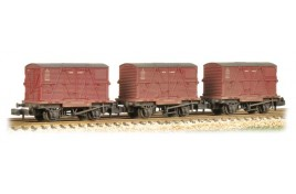 Triple Pack Conflat 1 Plank Wagons BR Bauxite with BR Crimson OO Gauge