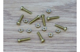8BA Brass Cheesehead Screws & Nuts x 8
