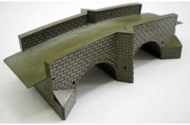 NBR5 Double Arch Road Bridge, Stone Built Card & Laser Cut Wood Kit N Scale