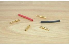 Pair of 2mm Corelly Type Gold Connectors with Heat Shrink Sleeving
