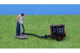 Man with Pneumatic Drill and Compressor - Painted OO Scale