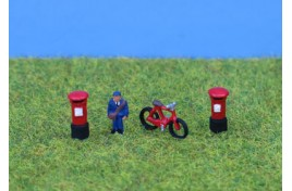 Postman, Bike & Postboxes, Painted N Scale
