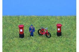 Postman, Bike & Postboxes, Painted N Scale