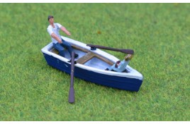 Rowing Boat with Man Rowing and Passenger  OO Scale