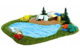 Lake & Camp Site with Tents N Scale