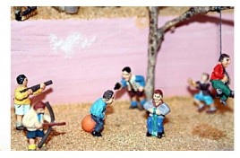 Boys Playing with Various Toys x 6 (painted metal) OO Scale