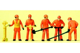 Track Workers in High Vis Clothing x 5 with Tools OO/HO Scale