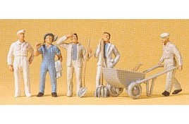 Construction Workers x 5 with Tools & Barrow OO/HO Scale