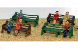 2 Seated Figures & 2 Slatted Wooden Seats Painted N Scale