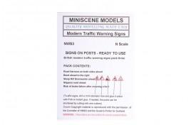 NWS3 Modern Road Warning Signs (pack of 5) N Scale