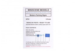 NPS1 Miniscenes Modern Parking Signs (pack of 5) N Scale
