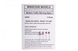 NWS5 Modern Road Warning Signs (pack of 4) N Scale