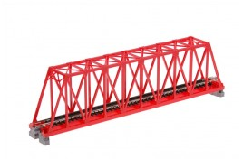 Single Track Truss Girder Bridge 248mm Red N Scale