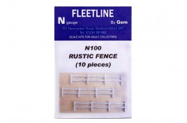 Rustic Fence x 10 pieces Whitemetal Unpainted N Scale